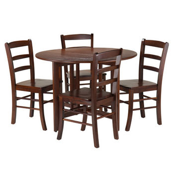 Winsome Wood Alamo 5-Pc Round Drop Leaf Table with 4 Ladder Back in Walnut