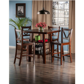 "Winsome Wood Orlando Collection 5-Piece Set High Table, 2 Shelves with 4 V-Back Counter Stools in Walnut, 33-7/8"" W x 33-7/8"" D x 36-1/16"" H"