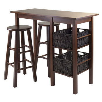 Winsome Wood Egan 5pc Breakfast Table with 2 Baskets and 2 Stools in Antique Walnut / Chocolate