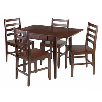 Winsome Wood Hamilton 5-Pc Drop Leaf Dining Table with 4 Ladder Back Chairs in Antique Walnut