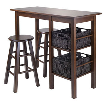 "Winsome Wood Egan 5pc Table with 2 - 24"" Square Legs Stools and 2 Baskets in Antique Walnut"