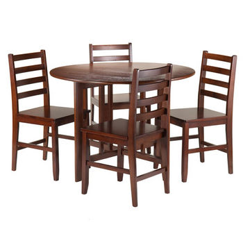 Winsome Wood Alamo 5-Pc Round Drop Leaf Table with 4 Hamilton Ladder Back in Walnut