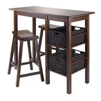 "Winsome Wood Egan 5pc Table with 2 - 24"" Saddle Seat Stools and 2 Baskets in Antique Walnut"