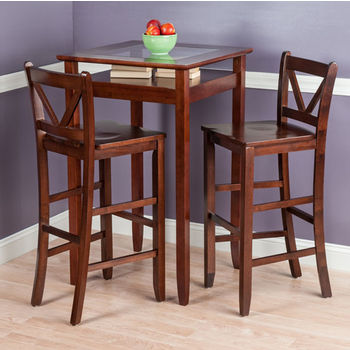 """Winsome Wood Halo Collection 3-Piece Pub Table Set with 2 V-Back Stools in Antique Walnut, 25-19/32"""" W x 25-19/32"""" D x 42-1/8"""" H"""