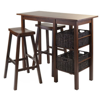 Winsome Wood Egan 5pc Breakfast Table with 2 Baskets and 2 Saddle Seat Stools in Antique Walnut / Chocolate