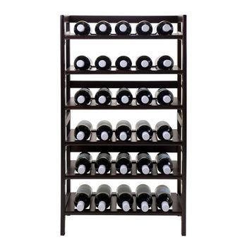 Winsome Wood WS-94622, Silvi Wine Rack, 30-Bottle, 6-Tier, Antique Walnut, 21.5'' W x 11.54'' D x 38.5'' H