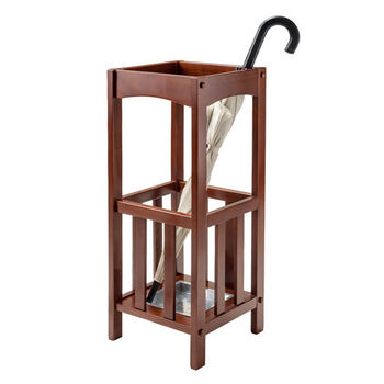 Winsome Wood Rex Umbrella Stand with Metal Tray in Walnut, 11''W x 11''D x 26-3/4''H