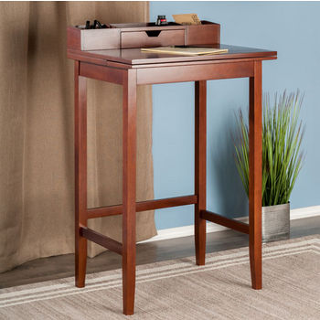 """Winsome Wood Archie Collection Home Office High Desk in Walnut, 27-61/64"""" W x 21-21/32"""" D x 45-3/64"""" H"""