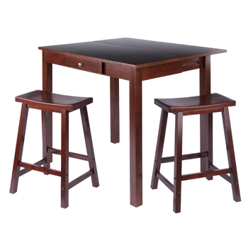 Winsome Wood Accent TableTable and Saddle Seat Chairs 1