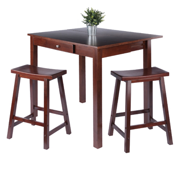 Winsome Wood Accent TableTable and Saddle Seat Chairs 2