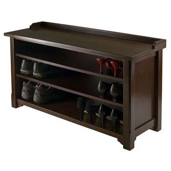Winsome Wood WS-94841, Dayton Storage Hall Bench with Shelves, Antique Walnut, 40'' W x 14.17'' D x 22'' H