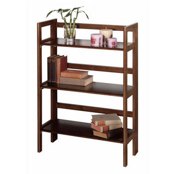 Winsome Wood Stackable 3-Tier Folding Shelf, Antique Walnut Finish