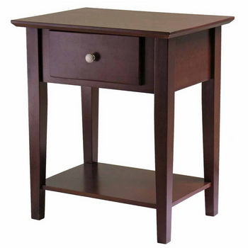 Winsome Wood Shaker Night Stand with Drawer with Antique Walnut Finish