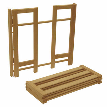 4-Tier Shoe Rack, Natural finish