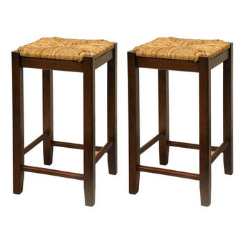 "24"" Bar Stool with Woven Rush Seat and Walnut Finish"