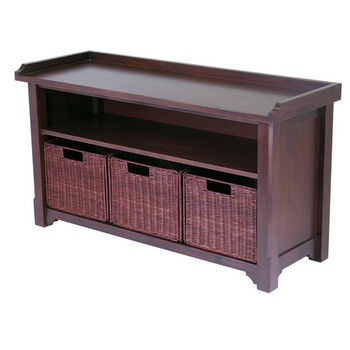 Storage Hall Bench with 3-Baskets Set