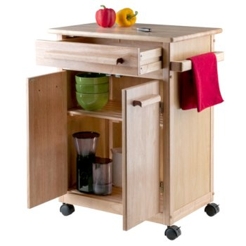 Winsome Wood Kitchen Cart with Wheels, Open Cart View
