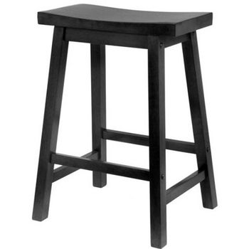 "Winsome - 24"" Saddle Seat Bar Stool, Black"