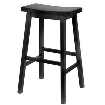 "Winsome - 29"" Saddle Seat Bar Stool, Black"