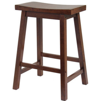 "Winsome - 24"" Saddle Seat Bar Stool, Walnut"