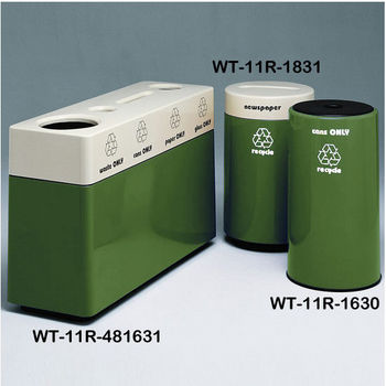 Hunter Green Fiberglass Recycling Containers