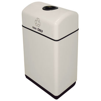 """Witt Fiberglass 1-Opening Recycling Container, with Plastic Liners, 11 Gallons, 12"""" W x 16"""" D x 31"""" H, Available in Multiple Finishes"""