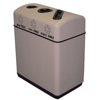 """Witt Fiberglass 3-Opening Recycling Container, with Plastic Liners, 33 Gallons, 36"""" W x 16"""" D x 31"""" H, Available in Multiple Finishes"""