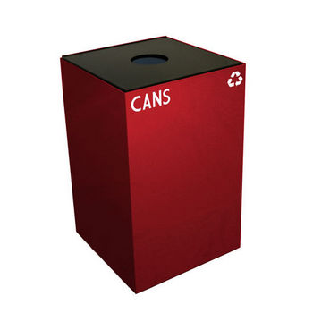 Witt 24 Gallon Geocube Indoor Recycling Container, Round Opening with Cans & Bottles Decals, Scarlet