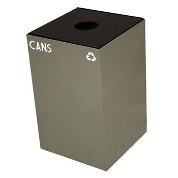 Witt 24 Gallon Geocube Indoor Recycling Container, Round Opening with Cans & Bottles Decals, Slate