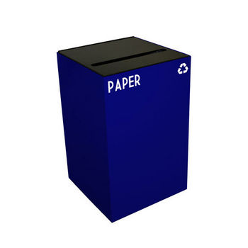 Witt 24 Gallon Geocube Indoor Recycling Container, Slot Opening with Paper & Recycle Decals, Blue