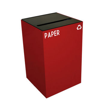 Witt 24 Gallon Geocube Indoor Recycling Container, Slot Opening with Paper & Recycle Decals, Scarlet
