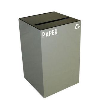 Witt 24 Gallon Geocube Indoor Recycling Container, Slot Opening with Paper & Recycle Decals, Slate