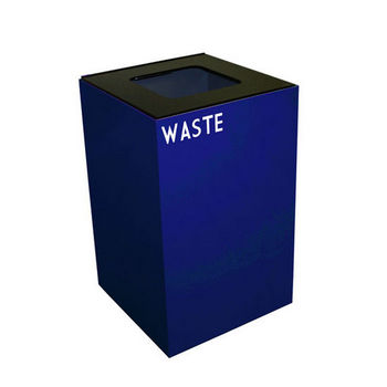 Witt 24 Gallon Geocube Indoor Recycling Container, Square Opening with Waste & Recycle Decals, Blue