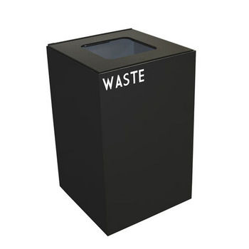 Witt 24 Gallon Geocube Indoor Recycling Container, Square Opening with Waste & Recycle Decals, Charcoal