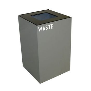 Witt 24 Gallon Geocube Indoor Recycling Container, Square Opening with Waste & Recycle Decals, Slate