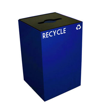 Witt 24 Gallon Geocube Indoor Recycling Container, Combo Round & Slot Opening with 2 Recycle Decals, Blue