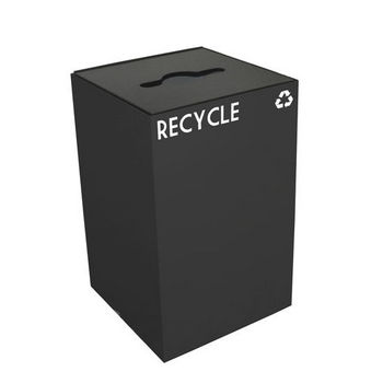 Witt 24 Gallon Geocube Indoor Recycling Container, Combo Round & Slot Opening with 2 Recycle Decals, Charcoal