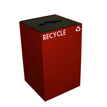 Witt 24 Gallon Geocube Indoor Recycling Container, Combo Round & Slot Opening with 2 Recycle Decals, Scarlet