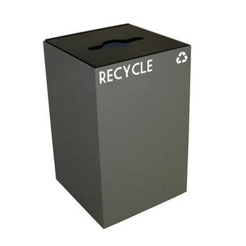 Witt 24 Gallon Geocube Indoor Recycling Container, Combo Round & Slot Opening with 2 Recycle Decals, Slate
