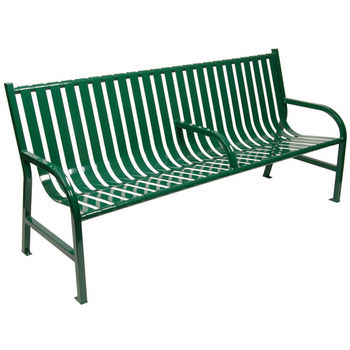 "60"" Green Bench with Center Arm Rest"
