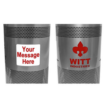 Witt - 55 Gal. Custom Logo Unit with Standard Ad Openings - Dome Top Lid and Plastic Liner